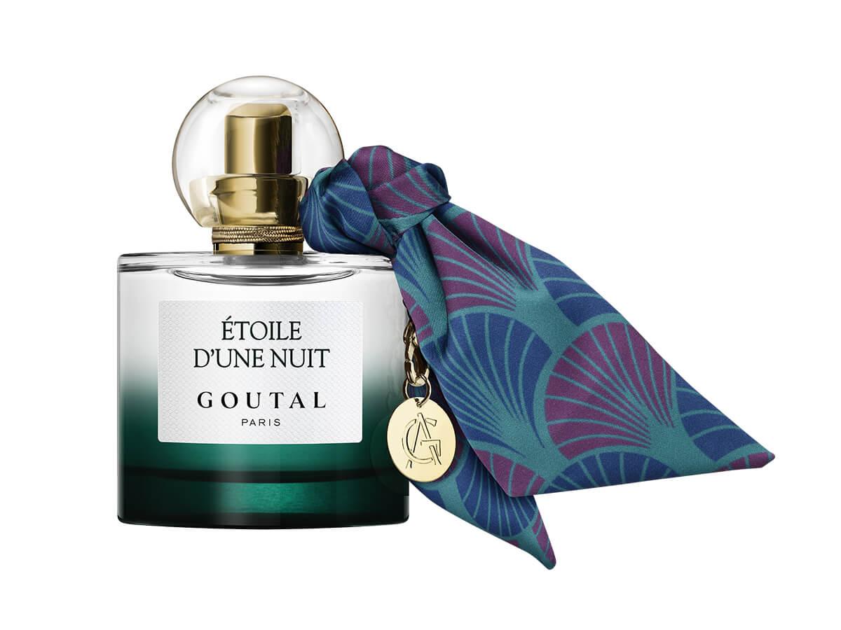 foulard, impression numérique et transfert par sublimation, découpé et cousu manuellement, pampille en laiton, étoile d'une nuit de Goutal